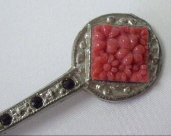 Vintage Art Deco Celluloid Pot Metal Brooch Pin