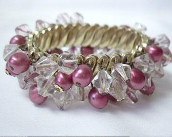 Vintage Mauve Pink Clear Glass Bead Cha Cha Bangle Bracelet