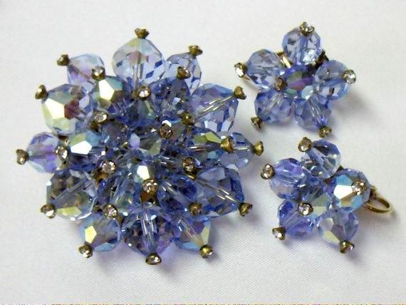 Vintage Blue Aurora Borealis Crystal Beaded Brooch Earring Demi Parure Set