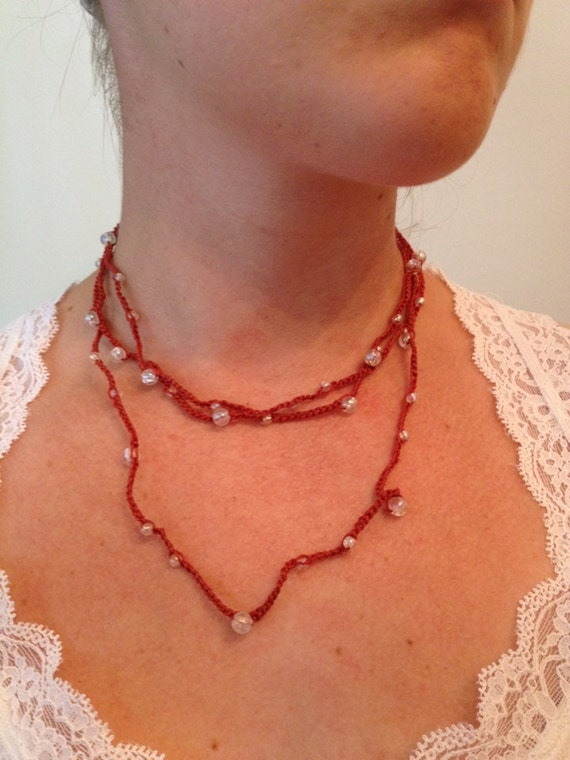 Brown and Iridescent Bead Crochet Necklace