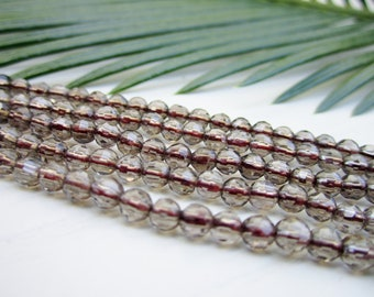 """Natural Smoky Quartz Gemstone Beads - Faceted Rounds 4mm - Full Strand - 16"""""""