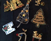 Vintage Christmas Pins and Brooches Rhinestones Trees, Rudolph, Stocking, Elf  NEWPRO