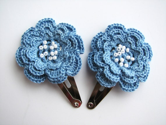 Hair clips with crocheted flowers, set of 2, Girls hair accessories