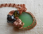 SEA Glass copper wire worked GREEN necklaces