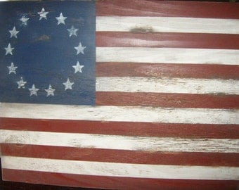 "Distressed American Flag wall decor 1776 Style-24"" x 17""/Americana/Patriotic/Red White Blue"