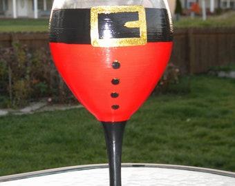 Santa hand painted wine glass