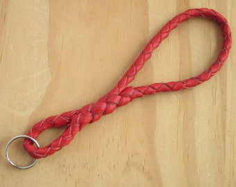 Leather Key Chain Red Braided Kangaroo Leather - The Infinity Keychain