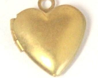 12 pcs of brass heart locket 20mm-BL3014-raw brass