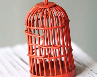6 pcs Of metal bird cage pendant 28x28x35mm-MP1009-orange