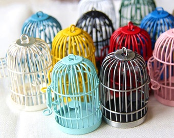 60 pcs Of metal bird cage pendant 28x28x35mm-MP1009-mix color