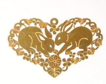 12 pcs of brass rabbit heart filigree charm-1582-raw brass