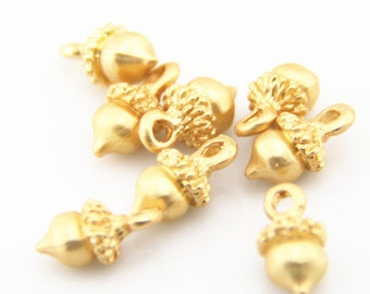 12 pcs of acorn charms 12x8mm-1223-mat gold