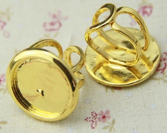 8pcs of solid brass ring blank for 20mm cameo-4040-Gold