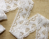 White cotton lace L16 2.4 yds wide zigzag eco friendly soft organic natural clothes design sewing supplies accessories