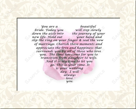 Wedding Gift To Dad From Daughter : Bridal Gift for Wedding Day Gift Poem from Mom or Dad to Daughter ...