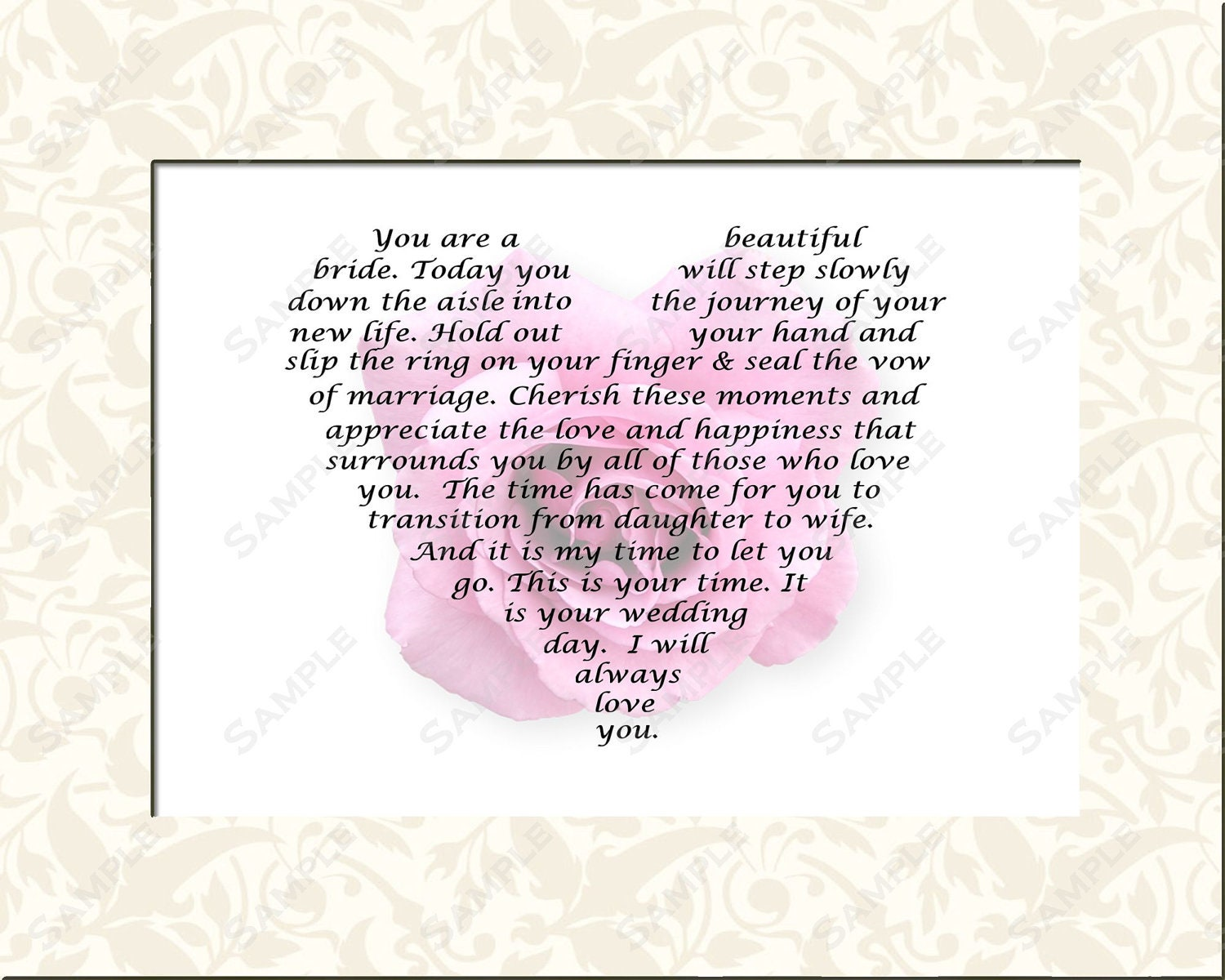 Wedding Gift For Bride From Mom : Personalized Bridal Gift for Wedding Day Gift Poem from Mom or