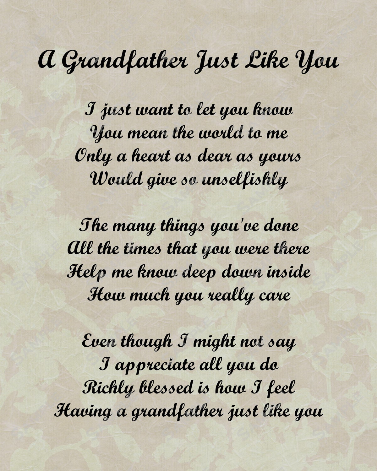 Items similar to Grandfather Poem Love Poem INSTANT ...