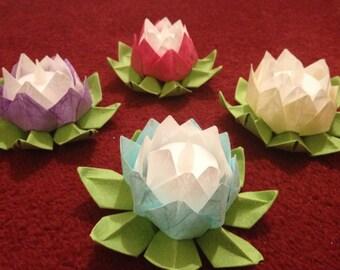 Origami Lotus Flower Lanterns (Set of Four)