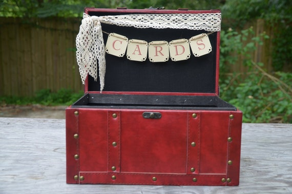 Wedding card holder, red wedding chest, wedding card banner