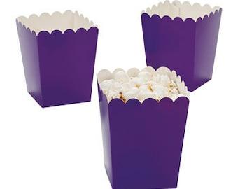 12 Mini Purple  popcorn boxes treat favors