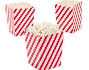 24 Mini Red and White Diagonal striped popcorn boxes treat favors