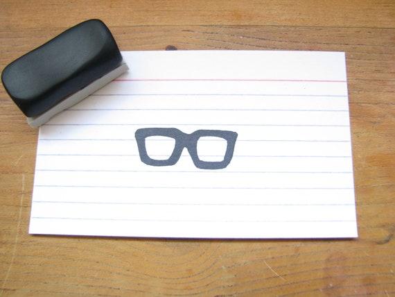 Handmade Nerdy Glasses Rubber Stamp Geeky Woody Allen