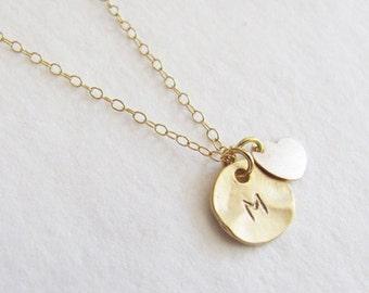 Initial With 14k Gold Filled Heart Necklace, Initial Necklace, Bridesmaid Necklace, Personalized Necklace, Dainty Necklace