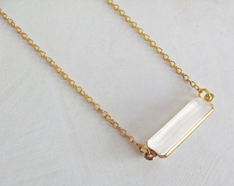 Clear Rectangle Necklace - Simple Necklace - Minimal Everyday Necklace - Thin Necklace - Bridesmaid Necklace
