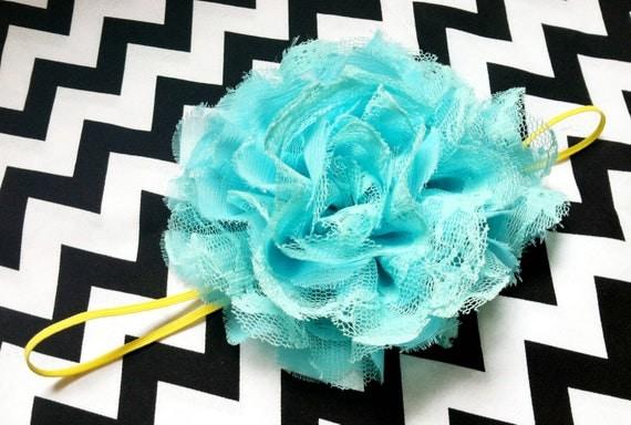 Large Chiffon and Lace Blue Flower on Yellow Skinny Elastic Headband - Girls - Toddler - Baby - Birthday