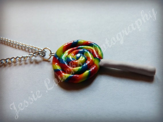 Rainbow swirly lollipop necklace