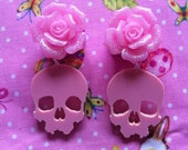 Acrylic Rose Skull Plugs - Made To Order