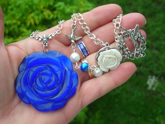 Large deep blue glass CAT'S EYE carved rose pendant with long fx pearl beaded decorative chain- necklace & earrings-reserved for Stella