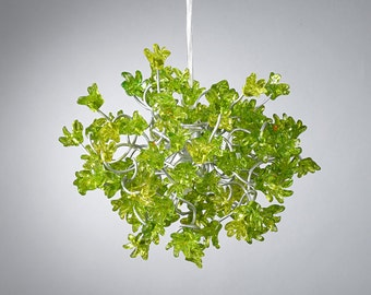 Hanging Chandeliers with Green jumping flowers for hall, bedroom,a unique pendant light
