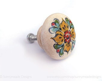 Hand painted decorative wooden knobs