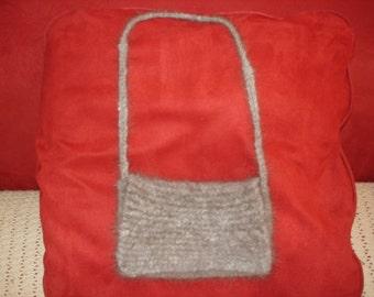 Angora hand knit purse
