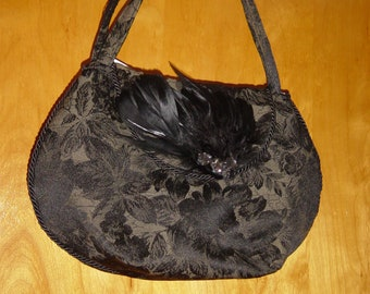Black Rose Tapestry Handbag Purse with Feather Trim