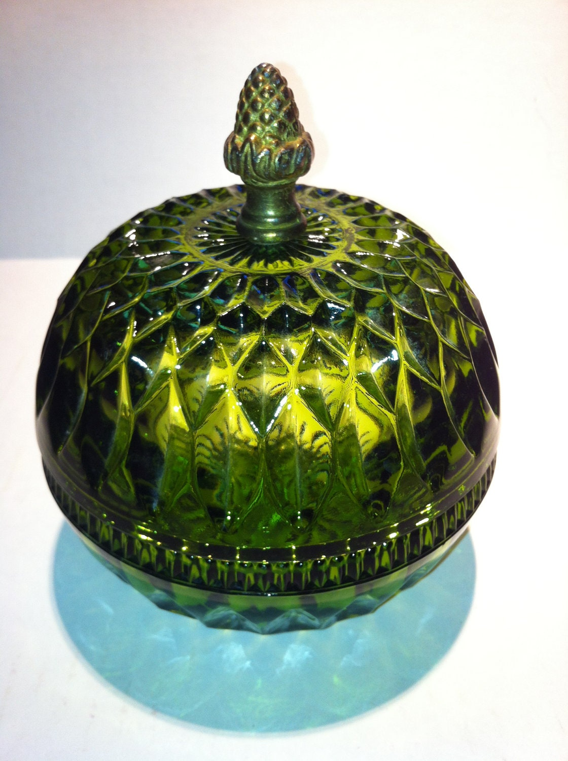 Green Depression Glass Candy Dish Bowl With Brass Acorn