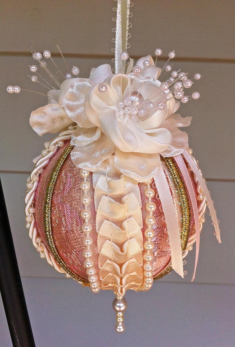 Pink ivory cream brocade victorian christmas ball ornament