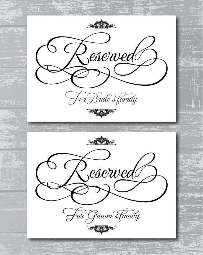 Reserved For Family Signs 5x7 Diy Wedding Posters