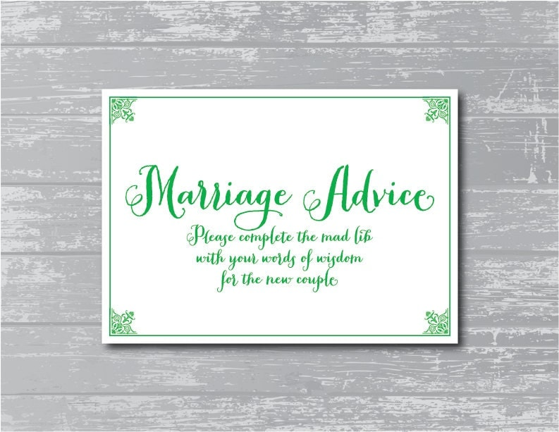 Marriage Advice Sign 5x7 DIY Wedding Sign By CreativePapier