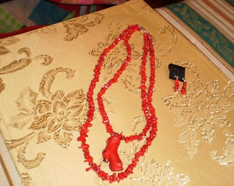 Double-Stranded, Polished, Red, Sponge Coral Necklace Set