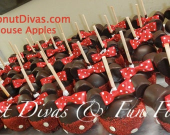 Minnie Mouse Apple  in Red or Pink  (10 apples)- Edible Party Favors