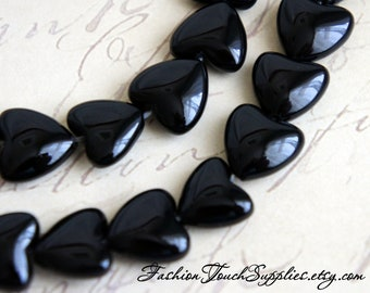 Bead, precious, gemstone, natural, stone, nugget Onyx Beads 11mm Black Onyx Smooth Shiny Puffed Hearts - 6 Pieces