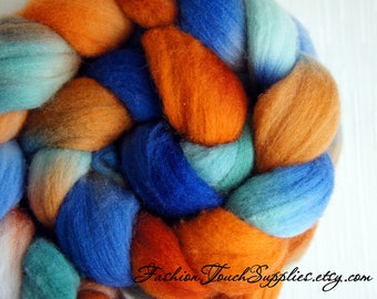 Wool Roving, Combed top, Hand Painted Roving for Spinning or Felting, Rambo, October Sky Blue and Orange Rambouillet Roving 4 oz