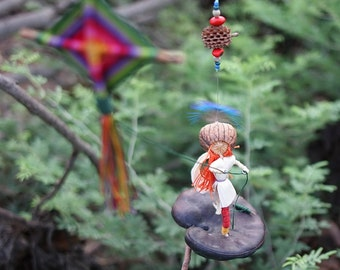 Nature Art, Red head woman flying a kite, Natural Rustic gift,