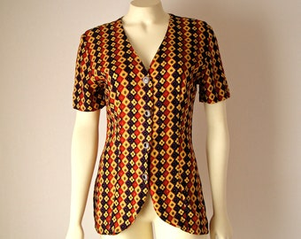1980's Quirky Geometric Blouse. Button Up Shirt. Tunic. Mustard Yellow Rust. Short Sleeves. Tailored. Boho. Retro. XS. Small
