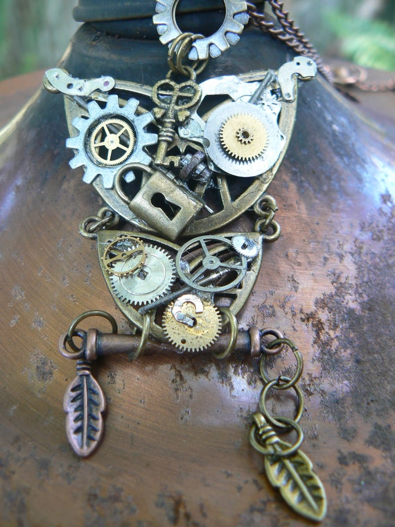 SALE steampunk owl necklace ooak gears watch parts lock key copper chain steampunk gothic fantasy gypsy boho style