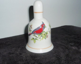 Vintage China Bell with Red Cardinal Bird  Collectible Bell