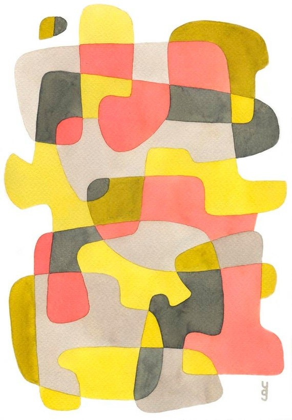 big mid century modern print poster 39 yellow and pink 39. Black Bedroom Furniture Sets. Home Design Ideas