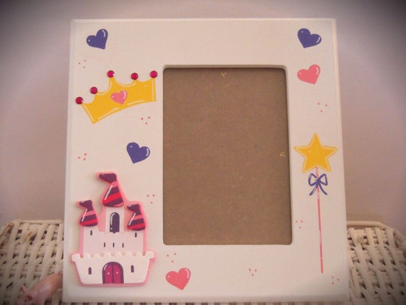 Personalized Hand Painted Picture Frame With Princess Theme